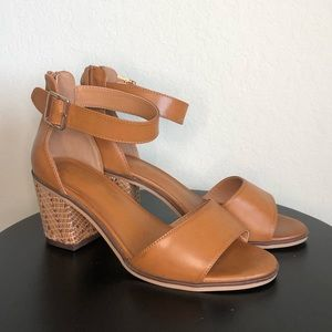 C EST. 1946 | Tan Leather Block Heel Sandals
